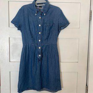 Banana Republic Blue Chambray Button Mini Dress